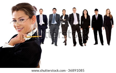 business group isolated over a white background - stock photo