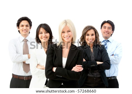 business group smiling isolated over a white background - stock photo