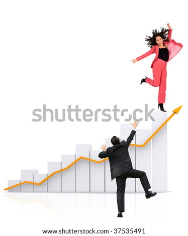 business group with a graphic showing growth isolated - stock photo