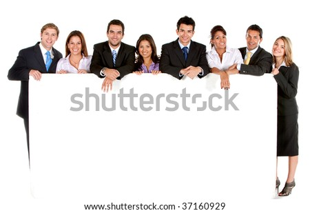 Business group with  banner isolated over white - stock photo
