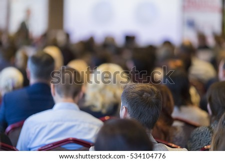 Business Groups and People. Group of People Attending Conference and Listening to the Host.Horizontal Image Orientation