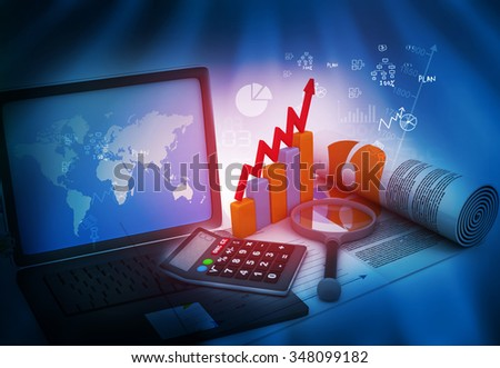 Business growth analysing with laptop	 - stock photo