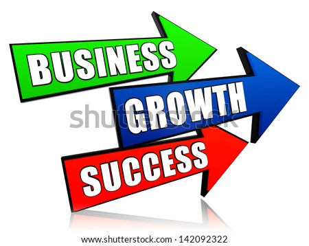 business, growth and success - text in 3d arrows, business development concept words - stock photo