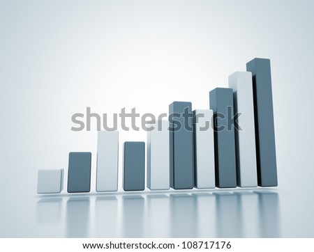 Business growth 3D rising graph - stock photo