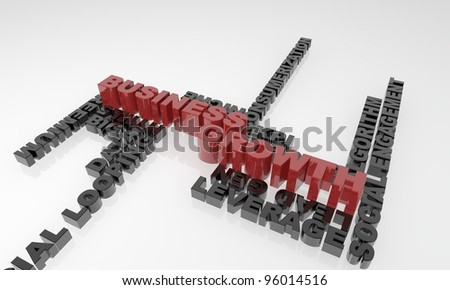 Business growth 3d text