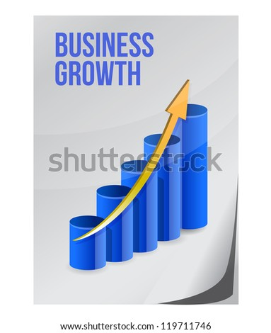 business growth design illustration on a piece of paper