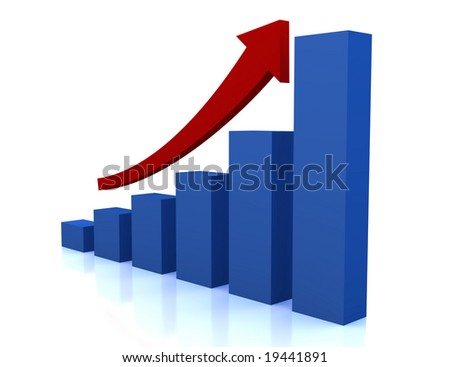 business growth diagram with red arrow - stock photo