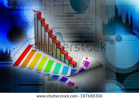 Business growth graph and chart - stock photo