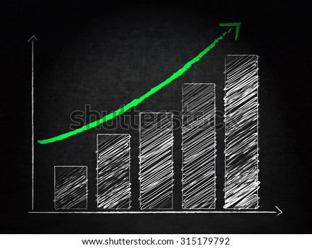 business growth graph on wall