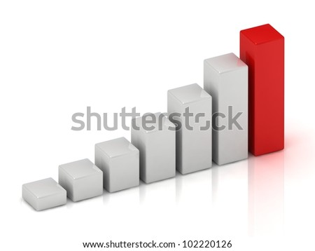 Business growth of white bars and red bar