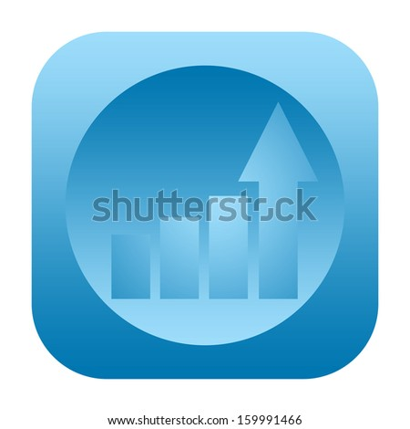 Business growth statistical graph icon with upward arrow  - stock photo