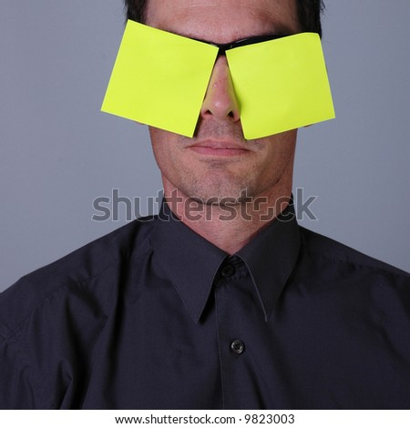 Business guy and post-it notes - stock photo
