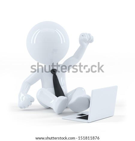 Business guy sitting and using a laptop. Isolated