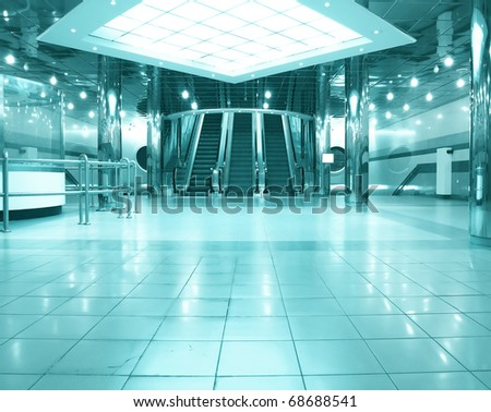 business hall with escalators - stock photo