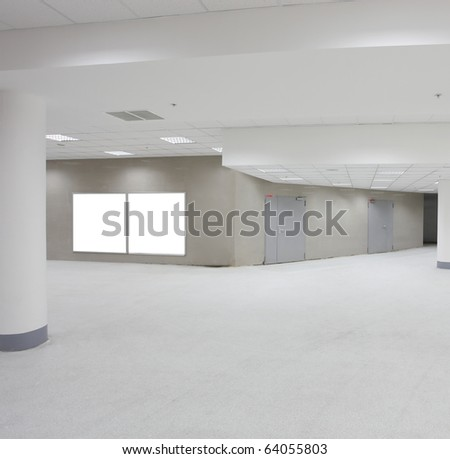business hall with white placards - stock photo