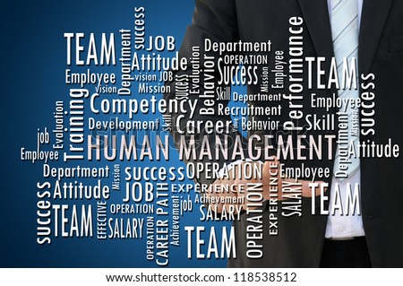 Business hand and human management concept - stock photo