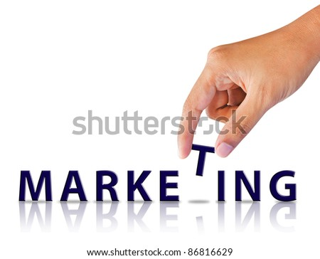 Business hand and word marketing - stock photo