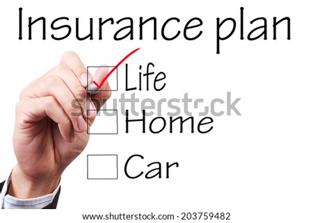 business hand checking the checklist boxes insurance plan life home car by pen on transparent glass