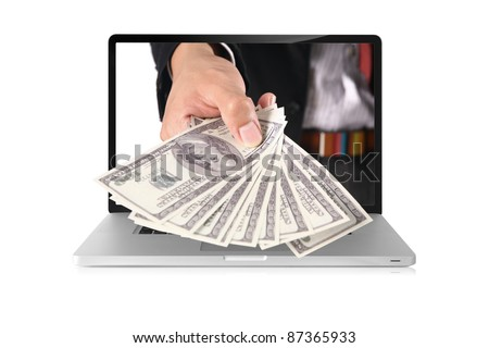 business hand coming out of laptop isolated on white - stock photo
