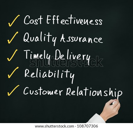 business hand complete the answer for high performance product and service industry - stock photo