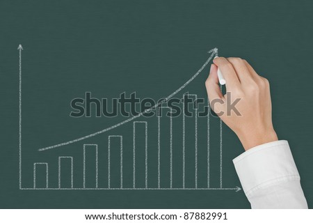 business hand drawing upward trend graph on chalkboard