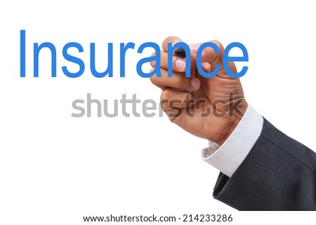 business hand drawing word insurance on white background - stock photo