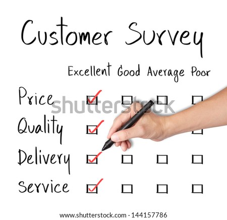 business hand evaluate excellence on customer survey form