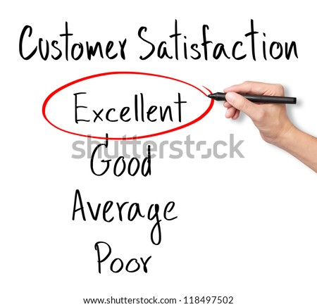 business hand evaluate excellent on customer satisfaction form - stock photo