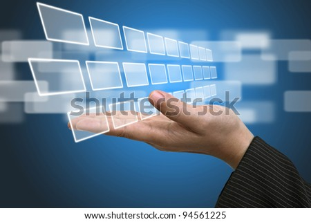 Business Hand hold blank Technology Input Screen Interface - stock photo