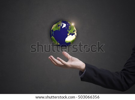 business hand holding globe earth concept business social. Elements of this image furnished by NASA