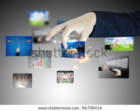 Business hand holding success - stock photo