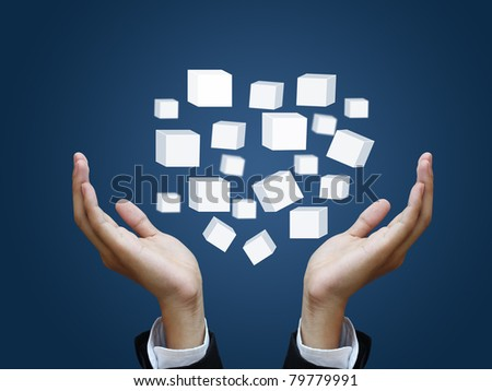 Business hand holding virtual box - stock photo