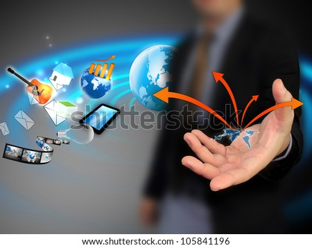 Business hand holding world map - stock photo