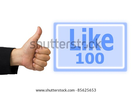 Business hand made like symbol hand and  button like 100 time - stock photo