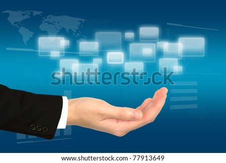 Business hand on the flow of several button
