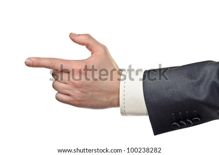Business hand pointing a finger, isolated on white. - stock photo