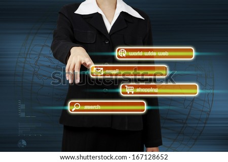 business hand push on technology virtual touch screen interface. - stock photo