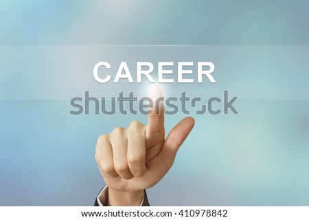 business hand pushing career button on blurred background - stock photo