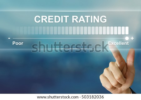 business hand pushing excellent credit rating on virtual screen interface