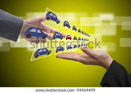 Business Hand select New Car from Sale Representative using for New Property Investment Concept - stock photo