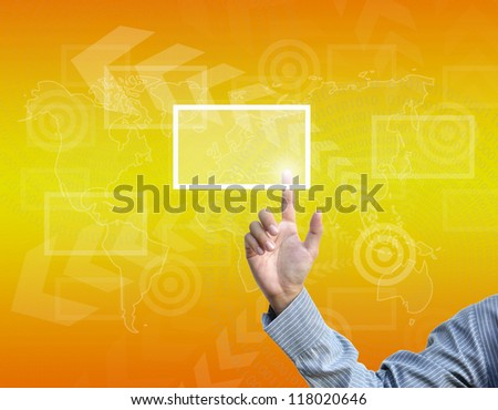 business hand selecting business icon on golden gradient background.