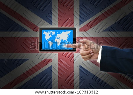 business hand selecting business icon on old United kingdom  flag background.