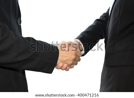 Business hand shake isolated on white background.