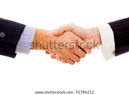 Business hand shake on white background