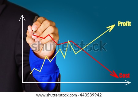 business hand showing success graph of profit  - stock photo