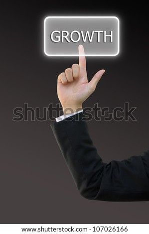 Business hand touch screen interface for growth word - stock photo