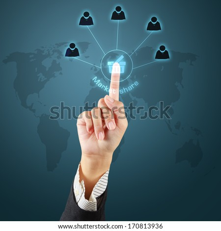 Business hand touching a button of market share concept on virtual screen.