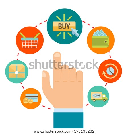 Business hand touching buy button, online internet shopping concept  illustration