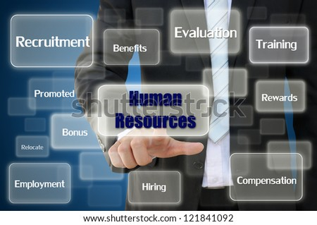 Business hand touching human resources concept - stock photo