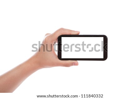 Business hand with mobile phone - stock photo